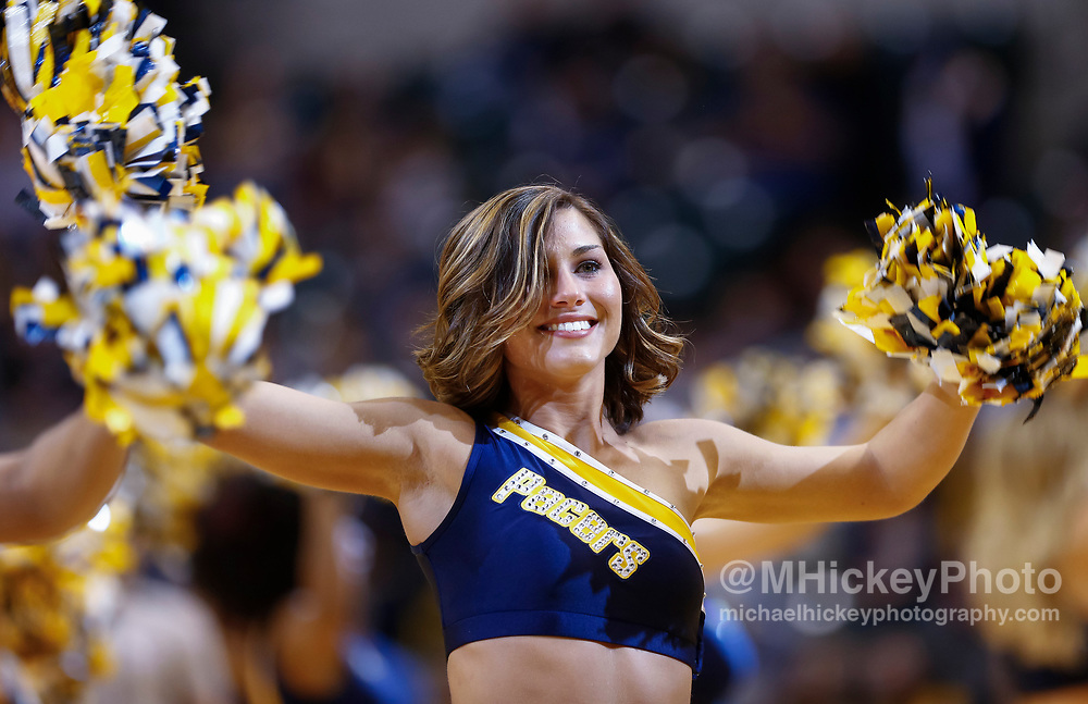INDIANAPOLIS, IN - MARCH 08: An Indiana Pacers Pacemate dances during the game against the Detroit Pistons at Bankers Life Fieldhouse on March 8, 2017 in Indianapolis, Indiana. NOTE TO USER: User expressly acknowledges and agrees that, by downloading and/or using this photograph, user is consenting to the terms and conditions of the Getty Images License Agreement. Mandatory Copyright Notice: Copyright 2017 NBAE (Photo by Michael Hickey/Getty Images)