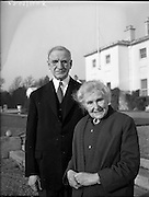 President Eamon de Valera and Mrs. de Valera celebrate their Golden Wedding Anniversary at Áras an Uachtarain..1960..07.01.1960..01.07.1960..7th January 1960...Portrait taken of Mr and Mrs DeValera to celebrate fifty years of marriage. The picture was taken in the grounds of Áras an Uachtarain in the Phoenix Park, Dublin.
