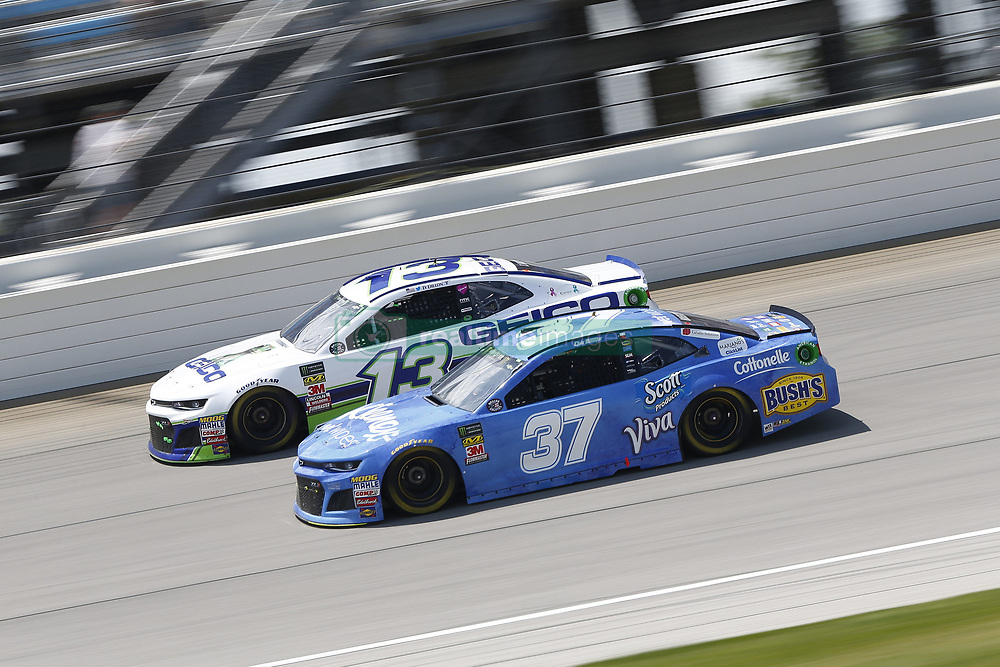 July 1, 2018 - Joliet, Illinois, United States of America - Chris Buescher (37) battles for position during the Overton's 400 at Chicagoland Speedway in Joliet, Illinois  (Credit Image: © Justin R. Noe Asp Inc/ASP via ZUMA Wire)
