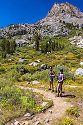 Hikers in the Big Pine Lakes basin, John Muir Wilderness, California USA