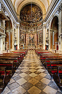 Interior architecture of Catholic church in Dubrovnik, Croatia a UNESCO World Heritage Site