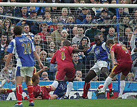 Photo: Lee Earle.<br /> Portsmouth v Reading. The Barclays Premiership. 28/10/2006. Kevin Doyle (R) scores Reading's first goal.
