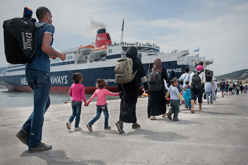 Syrian Refugees at the port of Mytiline boarding the F/B Rodos that will take them to Athens.