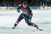 KELOWNA, CANADA - DECEMBER 3: Colten Martin #8 of Kelowna Rockets takes a shot against the Saskatoon Blades on December 3, 2014 at Prospera Place in Kelowna, British Columbia, Canada.  (Photo by Marissa Baecker/Shoot the Breeze)  *** Local Caption *** Colten Martin;