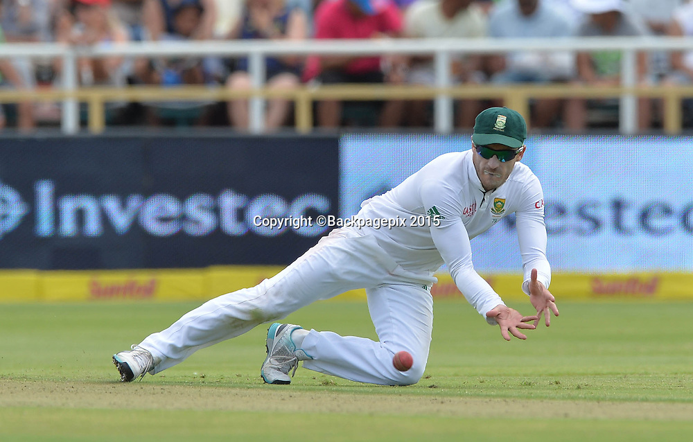 Faf du Plessis of South Africa during Day 1 of the 2015 Sunfoil Test Series Cricket Match between South Africa and the West Indies at Newlands Stadium, Cape Town on 2 January 2015 ©Chris Ricco/BackpagePix