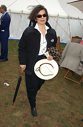 BIANCA JAGGER at the 2005 Cartier International Polo between England & Australia held at Guards Polo Club, Smith's Lawn, Windsor Great Park, Berkshire on 24th July 2005.<br />