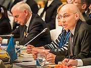 """29 MAY 2015 - BANGKOK, THAILAND:  VOLKER TURK, of the UNHCR, addresses the opening of the """"Special Meeting on Irregular Migration in the Indian Ocean."""" Thailand organized and hosted the meeting at the Anantara Siam Hotel in Bangkok. Turk specifically mentioned Myanmar's treatment of ethnic minorities as a source of the boat people in the Andaman Sea. The meeting brought together representatives from the 5 countries impacted by the boat people exodus: Thailand, Malaysia and Indonesia, which have all received boat people, and Myanmar (Burma) and Bangladesh, where they are coming from. Non-governmental organizations, like the International Organization for Migration (IOM) and UN High Commissioner for Refugees (UNHCR) as well as countries responding to the crisis, like the United States, also attended the meeting. A total of 22 organizations attended the one day conference.     PHOTO BY JACK KURTZ"""