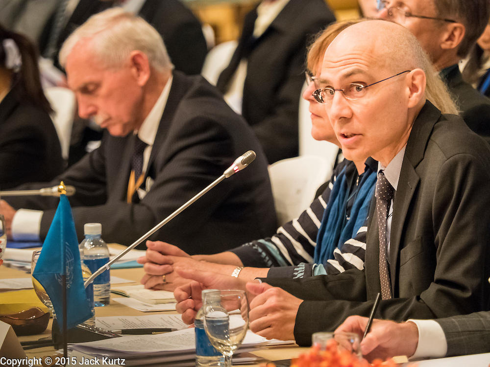 "29 MAY 2015 - BANGKOK, THAILAND:  VOLKER TURK, of the UNHCR, addresses the opening of the ""Special Meeting on Irregular Migration in the Indian Ocean."" Thailand organized and hosted the meeting at the Anantara Siam Hotel in Bangkok. Turk specifically mentioned Myanmar's treatment of ethnic minorities as a source of the boat people in the Andaman Sea. The meeting brought together representatives from the 5 countries impacted by the boat people exodus: Thailand, Malaysia and Indonesia, which have all received boat people, and Myanmar (Burma) and Bangladesh, where they are coming from. Non-governmental organizations, like the International Organization for Migration (IOM) and UN High Commissioner for Refugees (UNHCR) as well as countries responding to the crisis, like the United States, also attended the meeting. A total of 22 organizations attended the one day conference.     PHOTO BY JACK KURTZ"