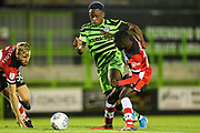 Forest Green Rovers Udoka Godwin-Malife(22) is tackled by Southampton's Lucas Defise(74)  during the EFL Trophy match between Forest Green Rovers and U21 Southampton at the New Lawn, Forest Green, United Kingdom on 3 September 2019.