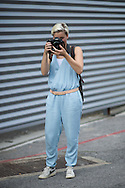 Blue Jumpsuit, Outside Dries van Noten