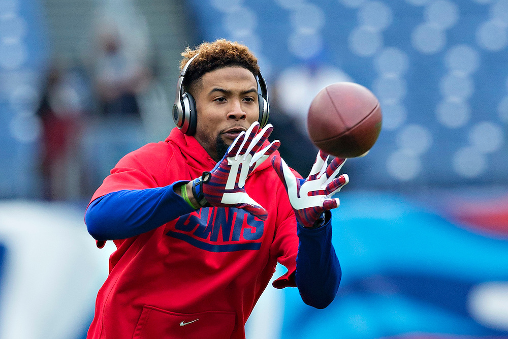 NASHVILLE, TN - DECEMBER 7:  Odell Beckham Jr. #13 of the New York Giants warming up before a game against the Tennessee Titans at LP Field on December 7, 2014 in Nashville, Tennessee.  (Photo by Wesley Hitt/Getty Images) *** Local Caption *** Odell Beckham Jr.