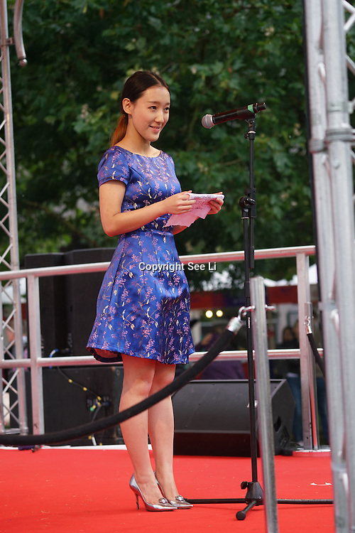 London,England,UK, 19th Aug 2016 : Speaker Shi Tang of the Chinese Food Festival Committee host of the 2016 Chinese Food Festival at Potters Fields Park,London,UK. Photo by See Li