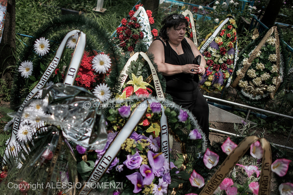 Ukraine, Donetsk: A relative of Mark Zverev is seen during his funeral at Donetsk cemetery, on May 29, 2014.<br /> Zverev was a taxi driver who has been killed during clashes between pro-Russia supporters and Ukrainian army at Donetsk airport. ALESSIO ROMENZI