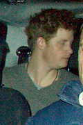 26.FEBRUARY.2011. LONDON<br /> <br /> PRINCE HARRY SPENT A NIGHT OUT AT BEAUFORT HOUSE ON THE KINGS ROAD WITH A FRIEND WHO LEFT WITH HARRY IN A PEOPLE CARRIER VEHICLE. AS THE VEHICLE SPED OFF FROM THE VENUE IT TOOK ONE OF THE PHOTOGRAPHERS WITH IT AND THE UNFORTUNATE PHOTOGRAPHER GOT DRAGGED UNDER THE LEFT OF THE FRONT WHEEL OF THE CAR. THE ROYAL CAR DIDNT STOP AS THE PHOTOGRAPHER WAS LYING ON THE FLOOR IN AGONY AS AMBULANCE AND POLICE ARRIVED ON THE SCENE. MARKS CAN BE SEEN ON THE LEFT LEG AS THE LEG POSSIBLY COULD BE BROKEN.<br /> <br /> BYLINE: EDBIMAGEARCHIVE.COM<br /> <br /> *THIS IMAGE IS STRICTLY FOR UK NEWSPAPERS AND MAGAZINES ONLY*<br /> *FOR WORLD WIDE SALES AND WEB USE PLEASE CONTACT EDBIMAGEARCHIVE - 0208 954 5968*