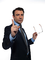 one caucasian man professor teaching beckoning pointing empty copy space  isolated studio on white background
