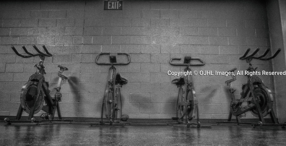 OAKVILLE, ON  - MAR 17,  2017: Ontario Junior Hockey League, playoff game between the Oakville Blades and the Burlington Cougars. Pregame.<br /> (Photo by Tim Bates / OJHL Images)