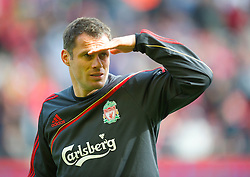 LIVERPOOL, ENGLAND - Sunday, March 28, 2010: Liverpool's Jamie Carragher warms-up before the Premiership match against Sunderland at Anfield. (Photo by: David Rawcliffe/Propaganda)