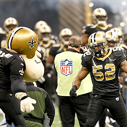 November 28, 2011; New Orleans, LA, USA; New Orleans Saints linebacker Jonathan Casillas (52) against the New York Giants prior to kickoff of a game at the Mercedes-Benz Superdome. Mandatory Credit: Derick E. Hingle-US PRESSWIRE