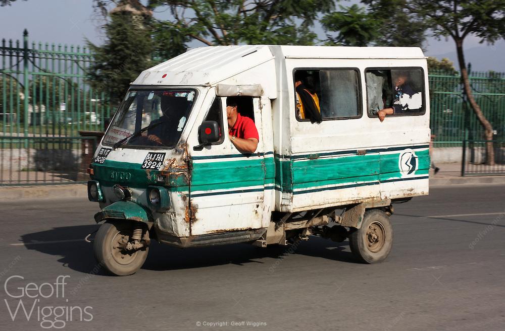 Battered Nepali tricycle tempo taxi, Kathmandu, Nepal