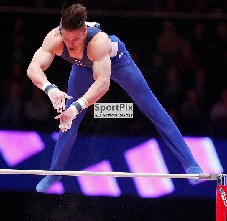 2015 Artistic Gymnastics World Championships being held in Glasgow from 23rd October to 1st November 2015....Christopher Brooks (USA) competing in the Horizontal Bar competition..(c) STEPHEN LAWSON | SportPix.org.uk
