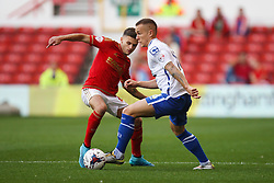 Kieron Morris of Walsall (R) and Jamie Paterson of Nottingham Forest in action - Mandatory byline: Jack Phillips / JMP - 07966386802 - 11/08/15 - FOOTBALL - The City Ground - Nottingham, Nottinghamshire - Nottingham Forest v Walsall - Football League Cup Round 1