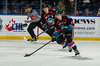 KELOWNA, CANADA - DECEMBER 1: Ethan Ernst #19 of the Kelowna Rockets skates with the puck against the Saskatoon Blades  on December 1, 2018 at Prospera Place in Kelowna, British Columbia, Canada.  (Photo by Marissa Baecker/Shoot the Breeze)