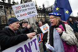 © Licensed to London News Pictures. 15/01/2019. London, UK. Pro-Brexit and anti-Brexit demonstrators argue outside the Houses of Parliament, Westminster. This evening, MPs are due to vote on British Prime Minister Theresa May's EU withdrawal deal, after the previous vote in December was postponed. Photo credit : Tom Nicholson/LNP