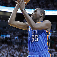 21 June 2012: Oklahoma City Thunder small forward Kevin Durant (35) takes a jumpshot during the Miami Heat 121-106 victory over the Oklahoma City Thunder, in Game 5 of the 2012 NBA Finals, at the AmericanAirlinesArena, Miami, Florida, USA. The Miami Heat wins the series 4-1.