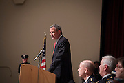 Mayor Bill de Blasio speaks before he administers the Oath of Office to NYPD Recruits at Queens College, 65-30 Kissena Blvd, Flushing, NY on Thursday, Jan. 9, 2014.<br /> <br /> CREDIT: Andrew Hinderaker for The Wall Street Journal<br /> SLUG: NYSTANDALONE