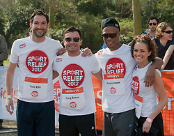Welsh actor Tom Ellis, radio presenter Greg Burns, Rapper Romeo Dunn and actress Kara Tointon taking part in a one mile run for Sport Relief charity in London, 25th March 2012.  Photo by: i-Images