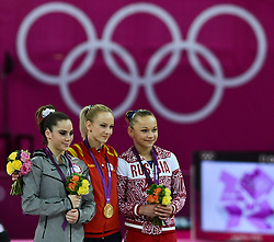 © Licensed to London News Pictures. 05/08/2012. London,UK.Romania's Sandra Raluca Izbasa competes in the Women's Vault Final during the London 2012 Olympic Games Artistic Gymnastics competition in London.  Photo credit : Bogdan Maran/LNP/BPA