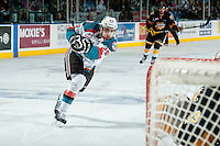KELOWNA, CANADA - MAY 11: Leon Draisaitl #29 of Kelowna Rockets takes a shot on net during first period and scores the opening goal against the Brandon Wheat Kings on May 11, 2015 during game 3 of the WHL final series at Prospera Place in Kelowna, British Columbia, Canada.  (Photo by Marissa Baecker/Shoot the Breeze)  *** Local Caption *** Leon Draisaitl;