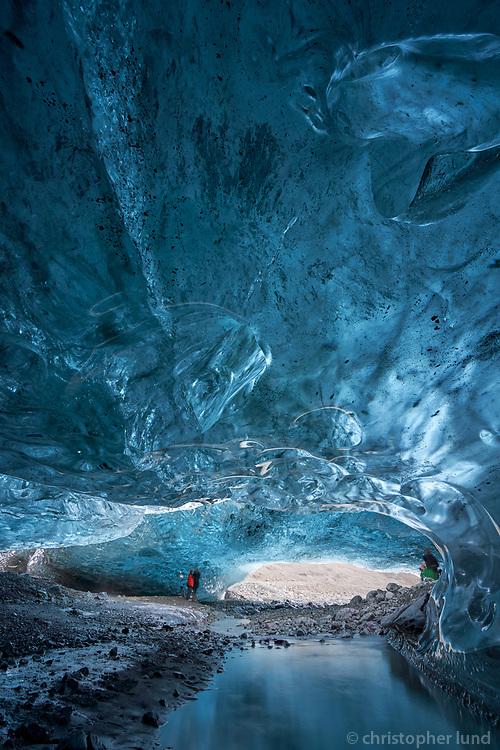 An Ice Cave in Breiðármerkurjökull glacier, Vatnajökull National Park, Southeast Iceland.