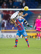 Dundee's Julen Etxabeguren jumps over Inverness' Billy McKay - Inverness Caledonian Thistle v Dundee in the Ladbrokes Scottish Premiership at Caledonian Stadium, Inverness.Photo: David Young<br /> <br />  - © David Young - www.davidyoungphoto.co.uk - email: davidyoungphoto@gmail.com