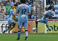 Coventry - Saturday August 9th, 2008: Leon McKenzie of Coventry City scores against Norwich City during the Coca Cola Championship match at The Ricoh Arena, Coventry. (Pic by Michael Sedgwick/Focus Images)