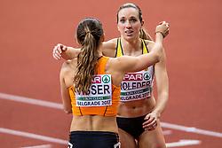 03-03-2017  SRB: European Athletics Championships indoor day 1, Belgrade<br /> In een lege Kombank Arena wordt de eerste dag van het Europees Kampioenschap gehouden / Nadine Visser, Cindy Roleder GER