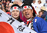 Japan fans during the Rugby World Cup Pool B match between Samoa and Japan at stadium:mk, Milton Keynes, England on 3 October 2015. Photo by David Charbit.