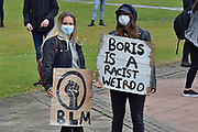 Protesters  during the Black Lives Matter protest at Queens Gardens, Hull, United Kingdom on 10 June 2020.