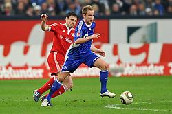 03-04-2010 VOETBAL: SCHALKE 04 - BAYERN MUNCHEN: GELSENKIRCHEN<br /> Muenchen wint met 2-1 van Schalke / Mark van Bommel en Ivan Rakitic <br /> ©2010- FRH nph / Conny Kurth