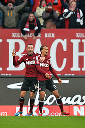 25.01.2014, easyCredit Stadion, Nuernberg, GER, 1. FBL, 1. FC Nuernberg vs TSG 1899 Hoffenheim, 18. Runde, im Bild Timothy Chandler (1 FC Nuernberg / rechts) bejubelt sein Tor zum 1:0 mit Josip Drmic (1 FC Nuernberg / links) // during the German Bundesliga 18th round match between 1. FC Nuernberg and TSG 1899 Hoffenheim at the easyCredit Stadion in Nuernberg, Germany on 2014/01/25. EXPA Pictures © 2014, PhotoCredit: EXPA/ Eibner-Pressefoto/ Merz<br /> <br /> *****ATTENTION - OUT of GER*****