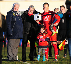 KETTERING TOWN BRETT SOLKHON RECIEVES HIS AWARD FOR PLAYING HIS 500TH GAME FOR KETTERING TOWN WITH HIS CHILDREN Kettering Town FC v Kings Lynn Town FC Evo stk Southern Premier League, Latimer Park Monday New Years Day 1st January 2018.<br /> Photo:Mike Capps, Score 1-0 (Aaron O'Connor) Kettering go top of Table