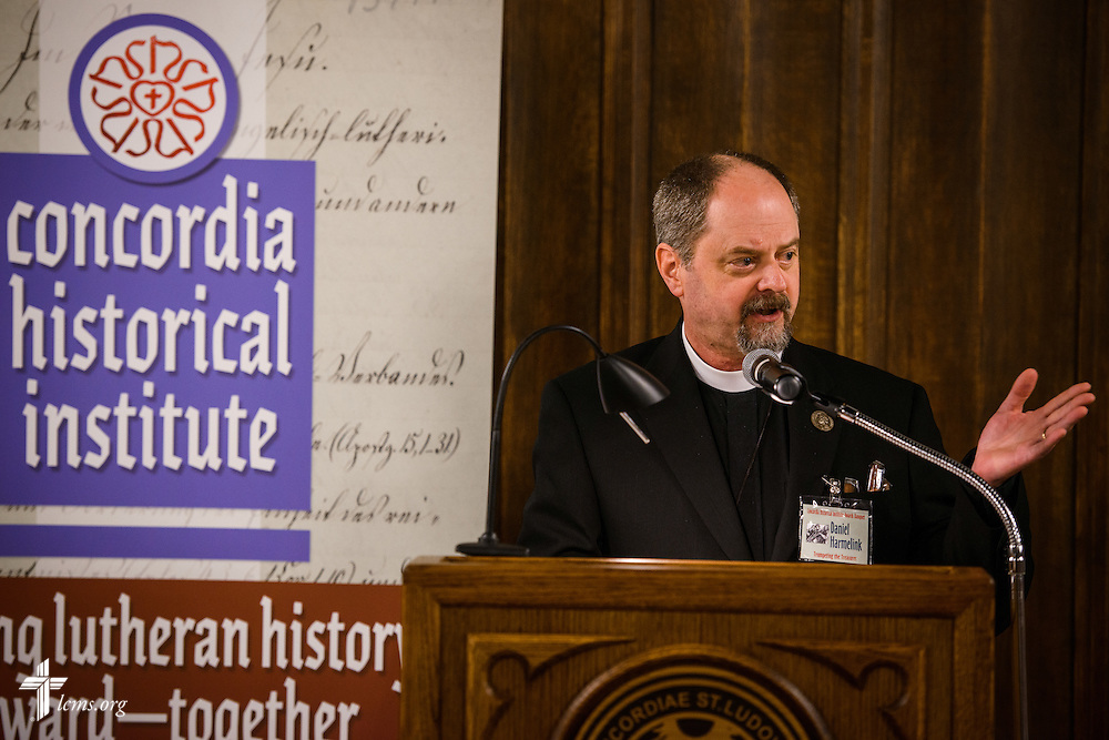 """The Rev. Dr. Daniel Harmelink, CHI executive director, speaks during the """"Trumpeting the Treasures"""" Concordia Historical Institute 42nd annual awards banquet on Thursday, Nov. 10, 2016, at Concordia Seminary, St. Louis. LCMS Communications/Erik M. Lunsford"""