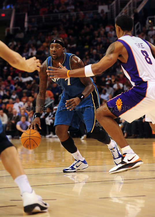 Dec. 5 2010; Phoenix, AZ, USA; Washington Wizards forward Andray Blatche (7) drives the ball against during the first half against Phoenix Suns forward Channing Frye (8) during at the US Airways Center. Mandatory Credit: Jennifer Stewart-US PRESSWIRE.