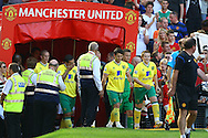 Picture by Paul Chesterton/Focus Images Ltd.  07904 640267.1/10/11.The players take to the pitch before the Barclays Premier League match at Old Trafford Stadium, Manchester.