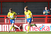 Accrington Stanley striker Josh Windass celebrates after scoring fromthe penalty spot during the Sky Bet League 2 match between Crawley Town and Accrington Stanley at the Checkatrade.com Stadium, Crawley, England on 26 September 2015. Photo by Bennett Dean.