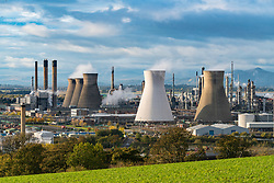 View of Grangemouth refinery operated by INEOS on River Forth in Scotland, United Kingdom