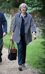 © Licensed to London News Pictures. 28/08/2016. Reading, UK. Prime Minister Theresa May attends church in her constituency. Photo credit: Peter Macdiarmid/LNP