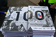 A wholly black and white edition of Watford's match programme, numbering 100 pages to mark 100 years since WWI began and containing a special commemorative section including a look at the club's former players who served in the Great War, before the Sky Bet Championship match at Vicarage Road, Watford<br /> Picture by David Horn/Focus Images Ltd +44 7545 970036<br /> 01/11/2014