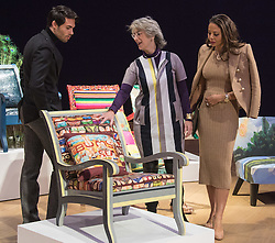 "Bonhams, London, February 29th 2016. Made In Chelsea's Mark Francis Vandelli and Emma, Viscountess Weymouth of Longleat (right) with actress Maureen Lipman and the chair she created during a photocall for ""Sitting Pretty"" featuring unique, hand painted and upholstered chairs made by 30 celebrities and artists, at Bonhams ahead of their auction in support of a leading AIDS charity, CHIVA Africa.<br /> ©Paul Davey<br /> FOR LICENCING CONTACT: Paul Davey +44 (0) 7966 016 296 paul@pauldaveycreative.co.uk"