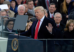 President Donald Trump speaks after taking the oath of office to during the 58th Presidential Inauguration on January 20, 2017 in Washington, DC..Photo by Olivier Douliery/Abaca